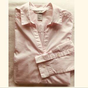H$M Light Pink V-neck Collared Button-down Shirt